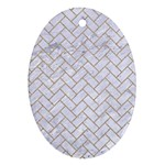 BRICK2 WHITE MARBLE & SAND (R) Oval Ornament (Two Sides) Back