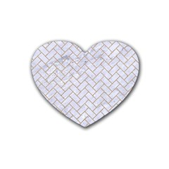 Brick2 White Marble & Sand (r) Rubber Coaster (heart)