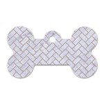 BRICK2 WHITE MARBLE & SAND (R) Dog Tag Bone (Two Sides) Front