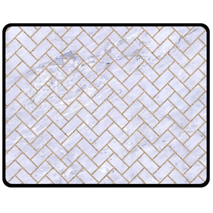 BRICK2 WHITE MARBLE & SAND (R) Fleece Blanket (Medium)