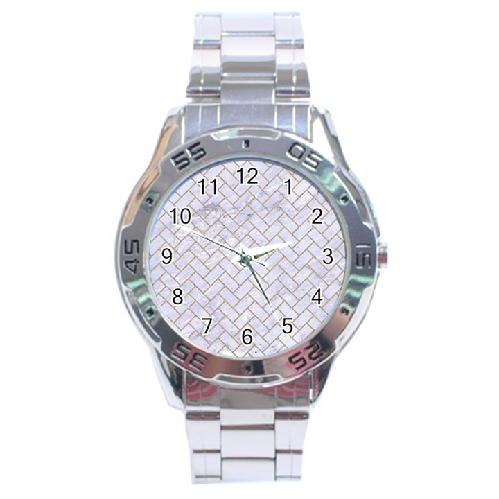 BRICK2 WHITE MARBLE & SAND (R) Stainless Steel Analogue Watch