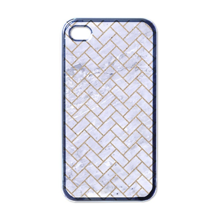 BRICK2 WHITE MARBLE & SAND (R) Apple iPhone 4 Case (Black)