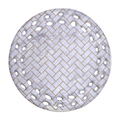 Brick2 White Marble & Sand (r) Round Filigree Ornament (two Sides)