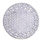 BRICK2 WHITE MARBLE & SAND (R) Round Filigree Ornament (Two Sides) Back