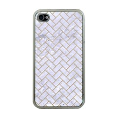Brick2 White Marble & Sand (r) Apple Iphone 4 Case (clear)