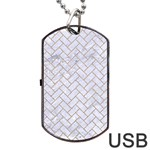 BRICK2 WHITE MARBLE & SAND (R) Dog Tag USB Flash (One Side) Front