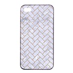 BRICK2 WHITE MARBLE & SAND (R) Apple iPhone 4/4s Seamless Case (Black) Front