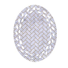 Brick2 White Marble & Sand (r) Oval Filigree Ornament (two Sides)