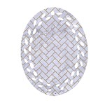 BRICK2 WHITE MARBLE & SAND (R) Oval Filigree Ornament (Two Sides) Front