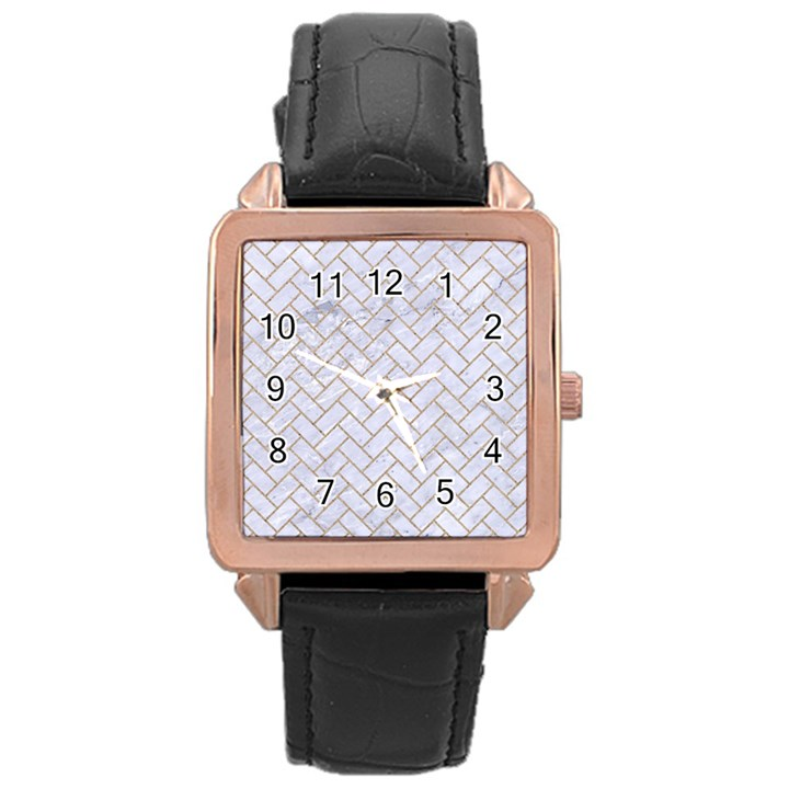 BRICK2 WHITE MARBLE & SAND (R) Rose Gold Leather Watch