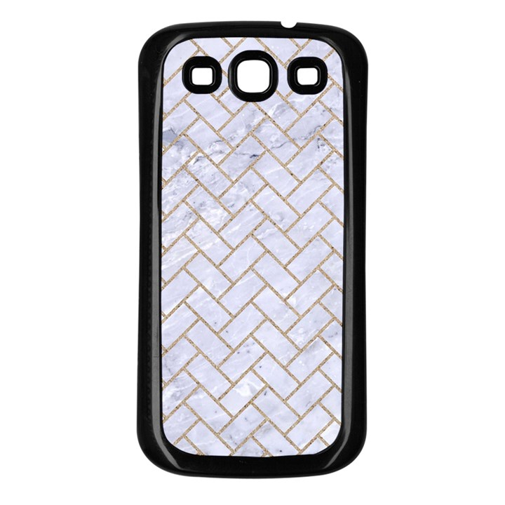 BRICK2 WHITE MARBLE & SAND (R) Samsung Galaxy S3 Back Case (Black)