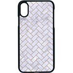 BRICK2 WHITE MARBLE & SAND (R) Apple iPhone X Seamless Case (Black) Front