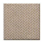 BRICK2 WHITE MARBLE & SAND Tile Coasters Front