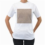 BRICK2 WHITE MARBLE & SAND Women s T-Shirt (White) (Two Sided) Front