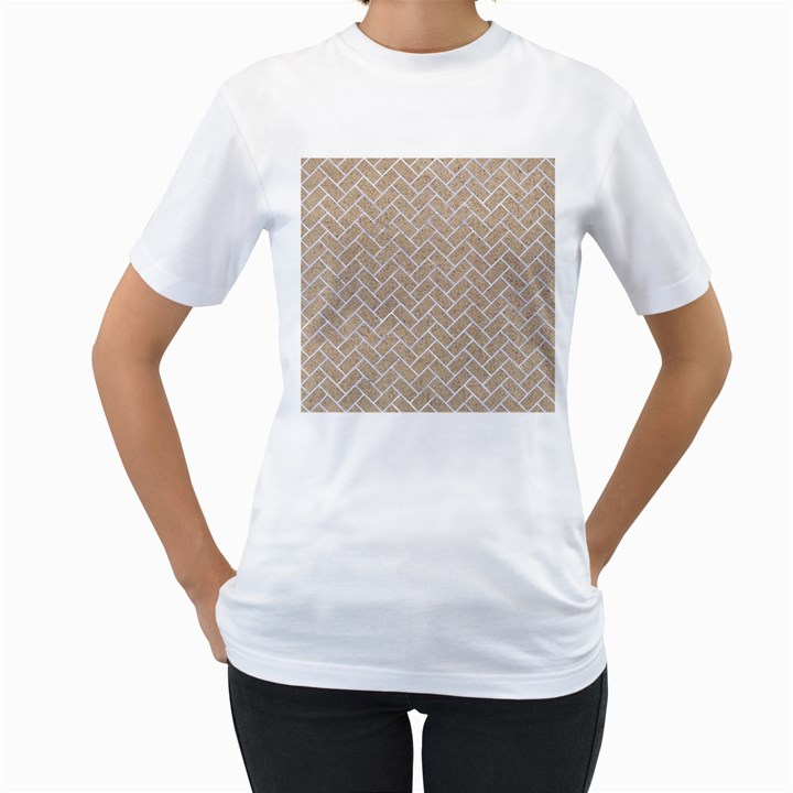 BRICK2 WHITE MARBLE & SAND Women s T-Shirt (White) (Two Sided)
