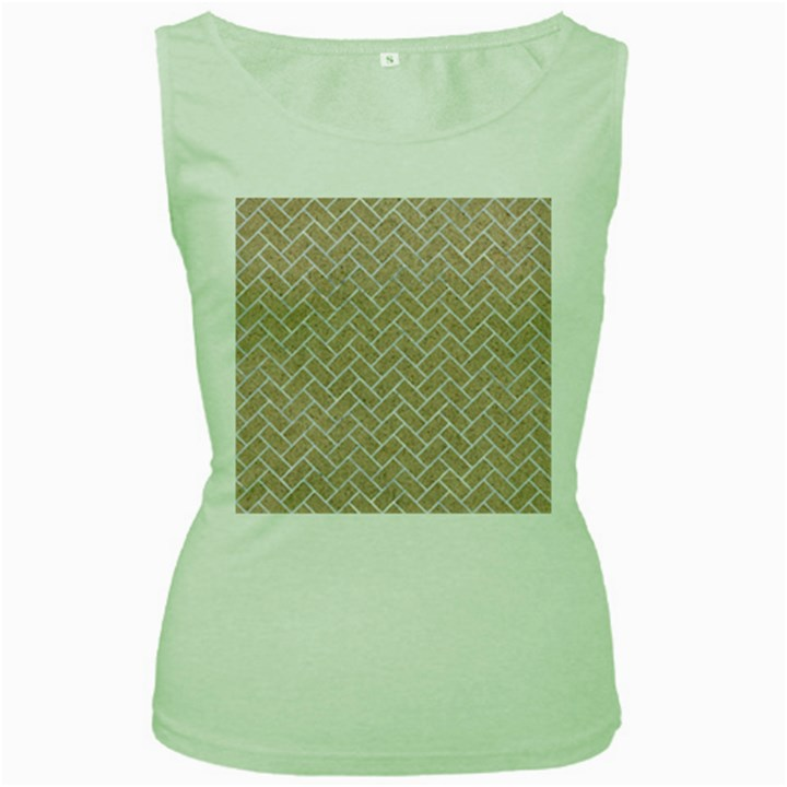BRICK2 WHITE MARBLE & SAND Women s Green Tank Top