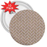 BRICK2 WHITE MARBLE & SAND 3  Buttons (10 pack)  Front