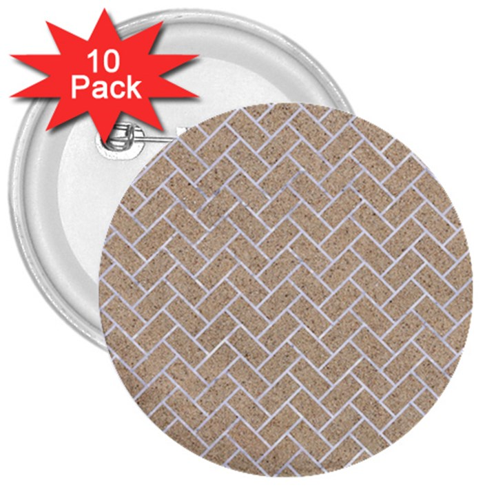 BRICK2 WHITE MARBLE & SAND 3  Buttons (10 pack)