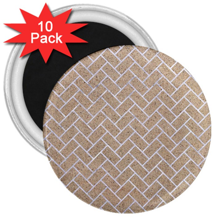 BRICK2 WHITE MARBLE & SAND 3  Magnets (10 pack)