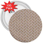 BRICK2 WHITE MARBLE & SAND 3  Buttons (100 pack)  Front