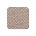 BRICK2 WHITE MARBLE & SAND Rubber Coaster (Square)  Front