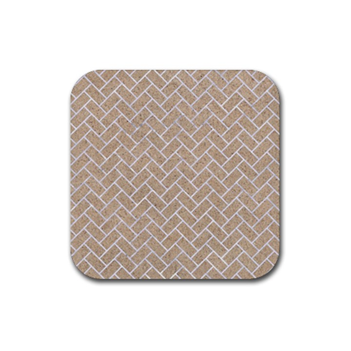 BRICK2 WHITE MARBLE & SAND Rubber Coaster (Square)