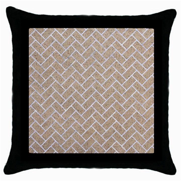 BRICK2 WHITE MARBLE & SAND Throw Pillow Case (Black)