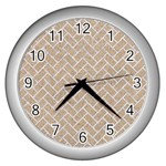 BRICK2 WHITE MARBLE & SAND Wall Clocks (Silver)  Front