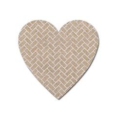 Brick2 White Marble & Sand Heart Magnet