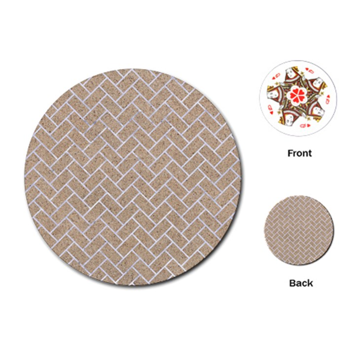 BRICK2 WHITE MARBLE & SAND Playing Cards (Round)