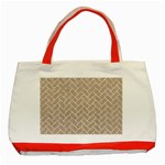 BRICK2 WHITE MARBLE & SAND Classic Tote Bag (Red) Front