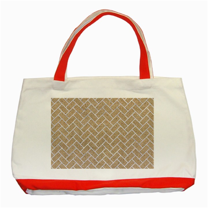 BRICK2 WHITE MARBLE & SAND Classic Tote Bag (Red)