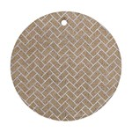 BRICK2 WHITE MARBLE & SAND Round Ornament (Two Sides) Back