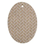 BRICK2 WHITE MARBLE & SAND Oval Ornament (Two Sides) Back