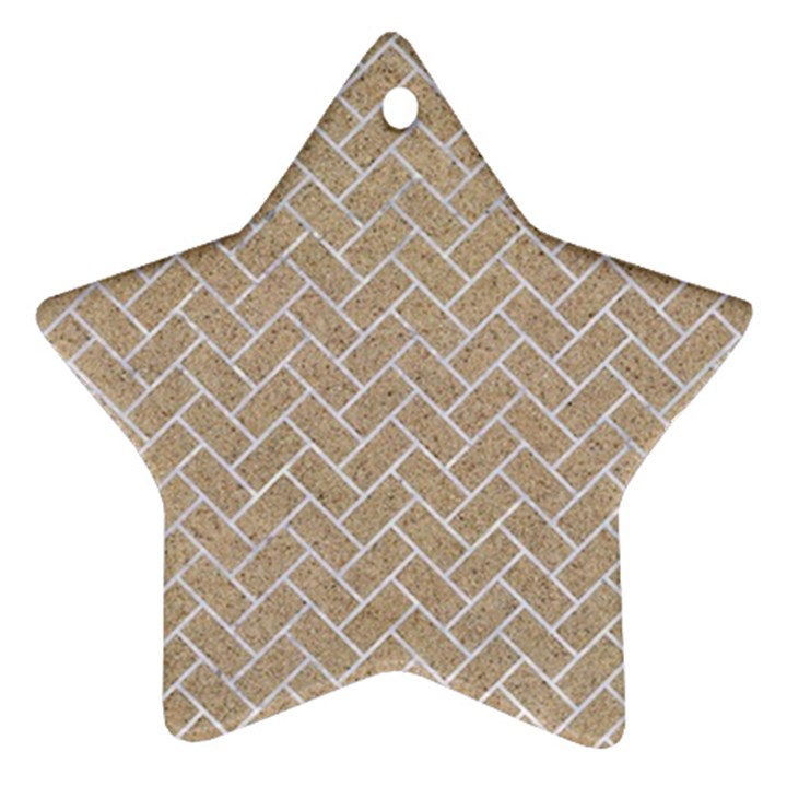 BRICK2 WHITE MARBLE & SAND Star Ornament (Two Sides)