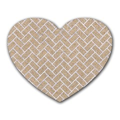 Brick2 White Marble & Sand Heart Mousepads