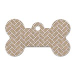 BRICK2 WHITE MARBLE & SAND Dog Tag Bone (Two Sides) Front