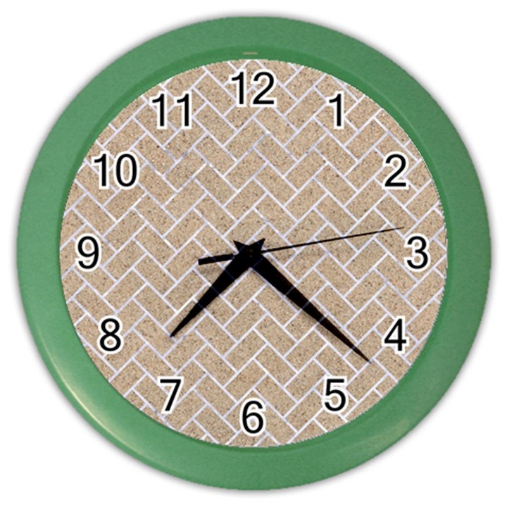 BRICK2 WHITE MARBLE & SAND Color Wall Clocks