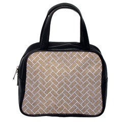 Brick2 White Marble & Sand Classic Handbags (one Side)