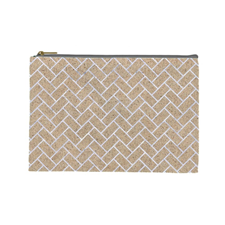 BRICK2 WHITE MARBLE & SAND Cosmetic Bag (Large)