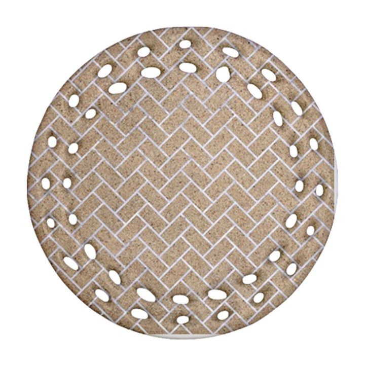 BRICK2 WHITE MARBLE & SAND Ornament (Round Filigree)
