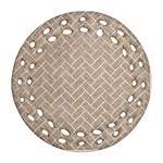 BRICK2 WHITE MARBLE & SAND Round Filigree Ornament (Two Sides) Front