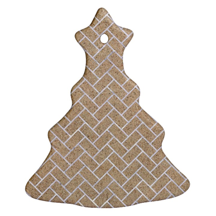 BRICK2 WHITE MARBLE & SAND Christmas Tree Ornament (Two Sides)