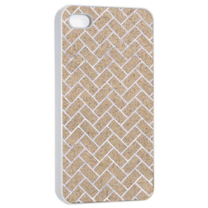 BRICK2 WHITE MARBLE & SAND Apple iPhone 4/4s Seamless Case (White)