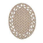 BRICK2 WHITE MARBLE & SAND Oval Filigree Ornament (Two Sides) Front