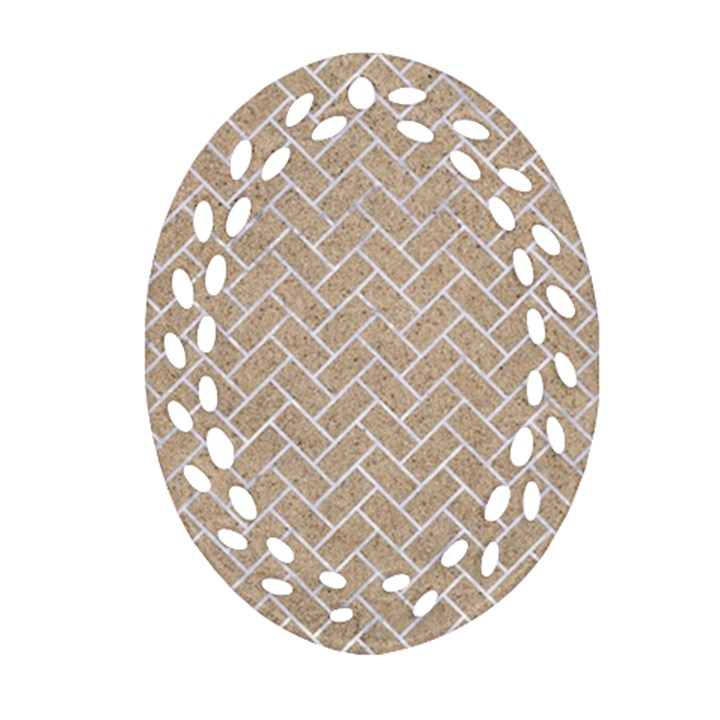 BRICK2 WHITE MARBLE & SAND Oval Filigree Ornament (Two Sides)