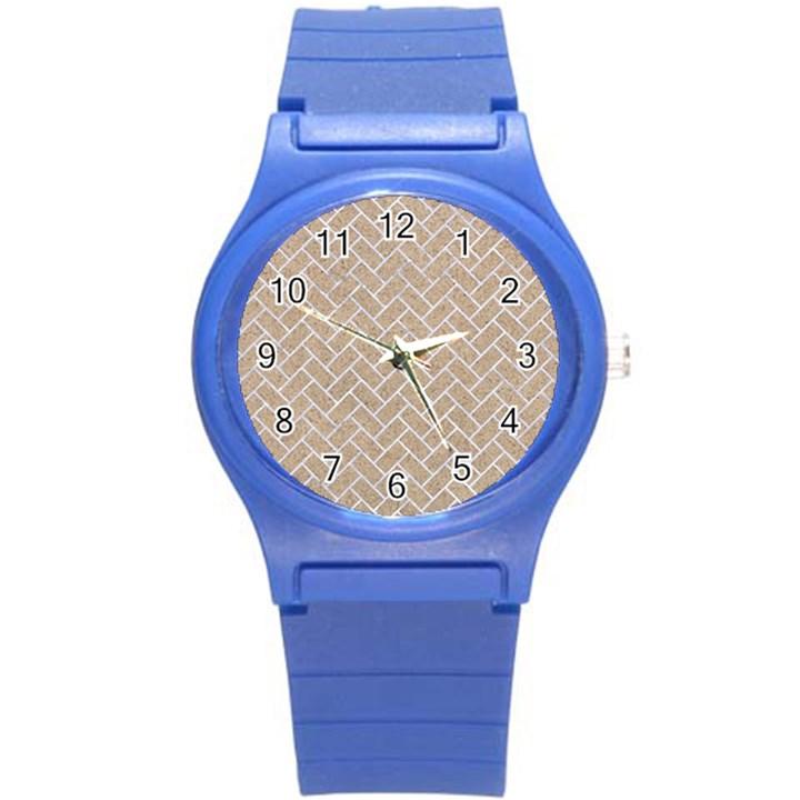 BRICK2 WHITE MARBLE & SAND Round Plastic Sport Watch (S)