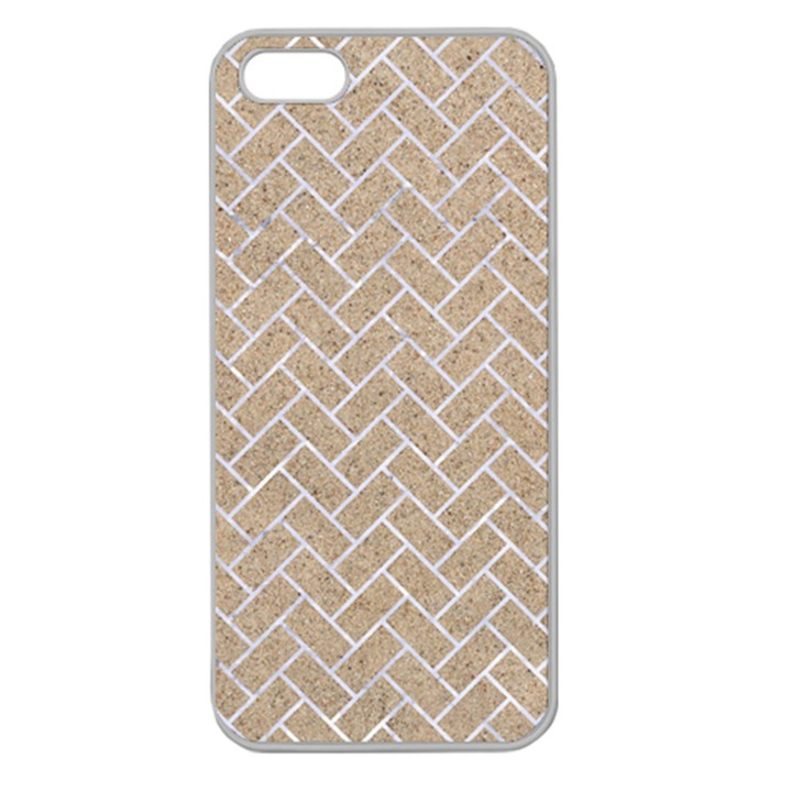 BRICK2 WHITE MARBLE & SAND Apple Seamless iPhone 5 Case (Clear)