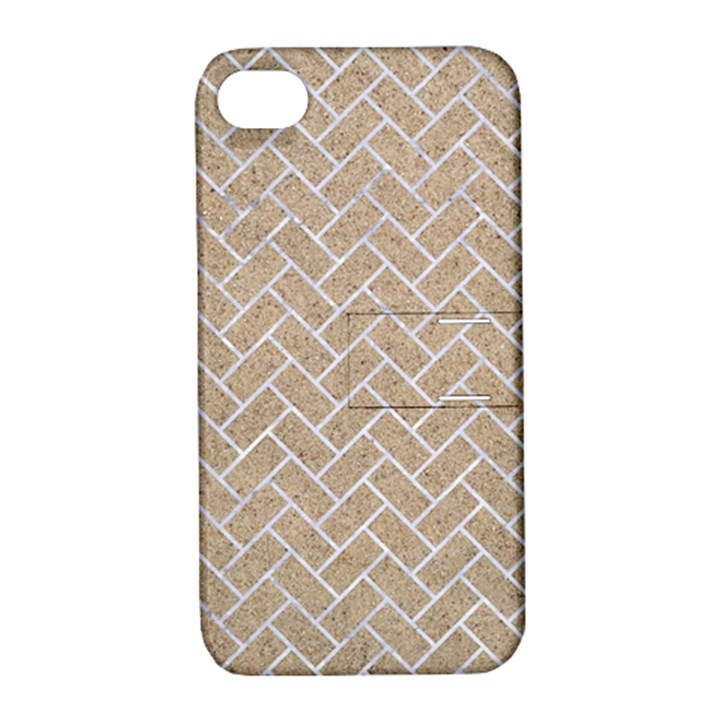 BRICK2 WHITE MARBLE & SAND Apple iPhone 4/4S Hardshell Case with Stand