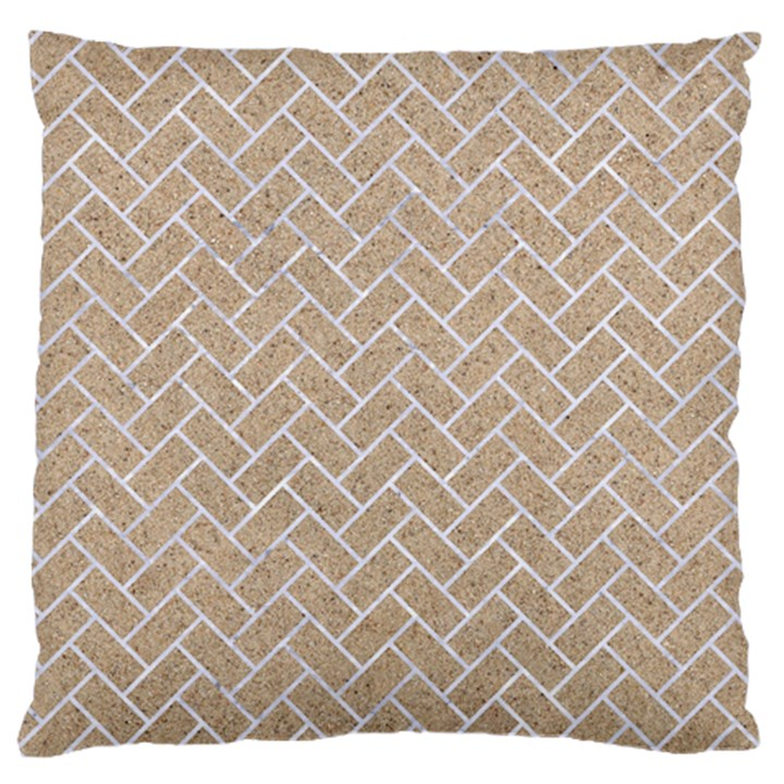 BRICK2 WHITE MARBLE & SAND Standard Flano Cushion Case (Two Sides)